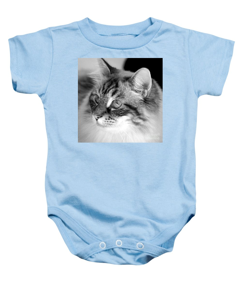 Clay Baby Onesie featuring the photograph Polly by Clayton Bruster