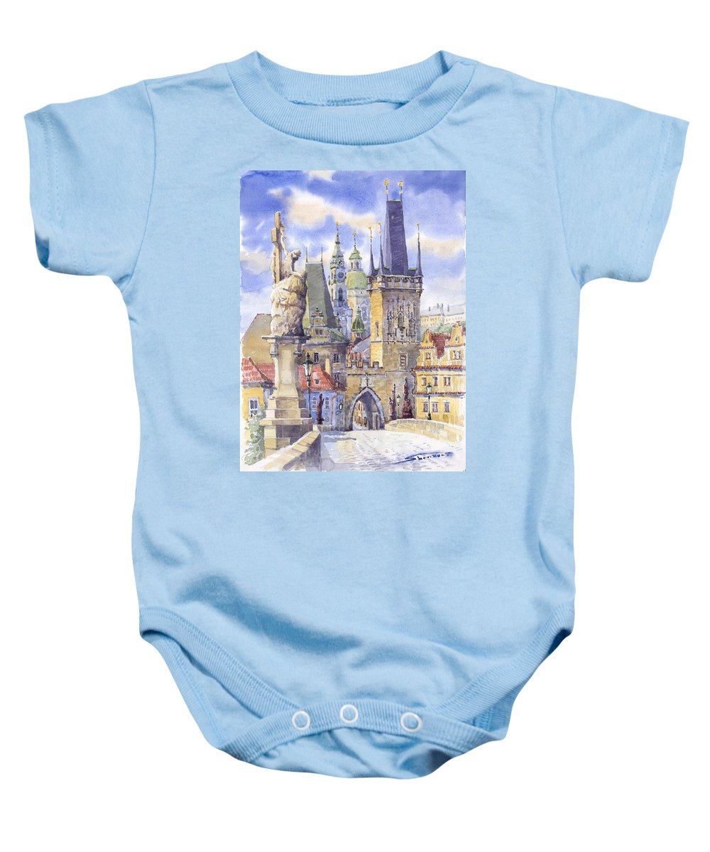 Watercolour Baby Onesie featuring the painting Prague Charles Bridge by Yuriy Shevchuk
