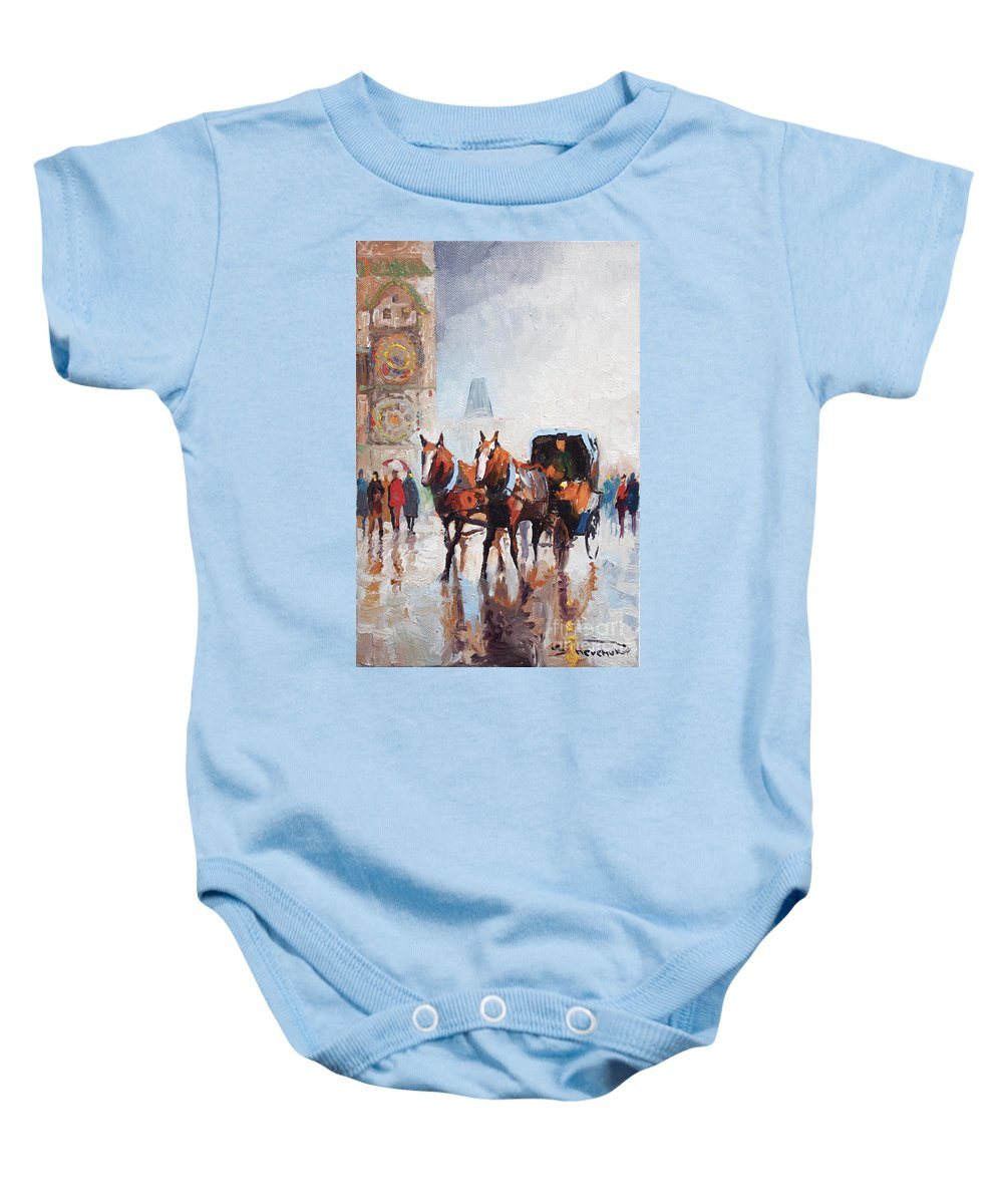Prague Baby Onesie featuring the painting Prague Old Town Square by Yuriy Shevchuk