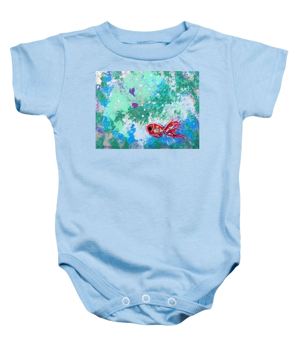 Fish Baby Onesie featuring the painting 1 Red Fish by Gina De Gorna