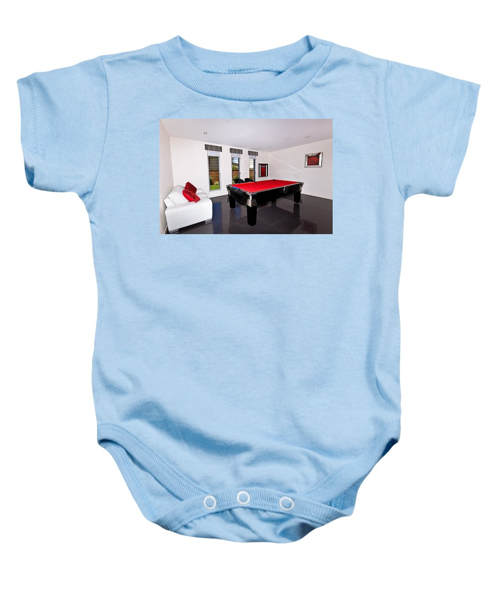 Pool Baby Onesie featuring the photograph Red Pool Table by Darren Burton