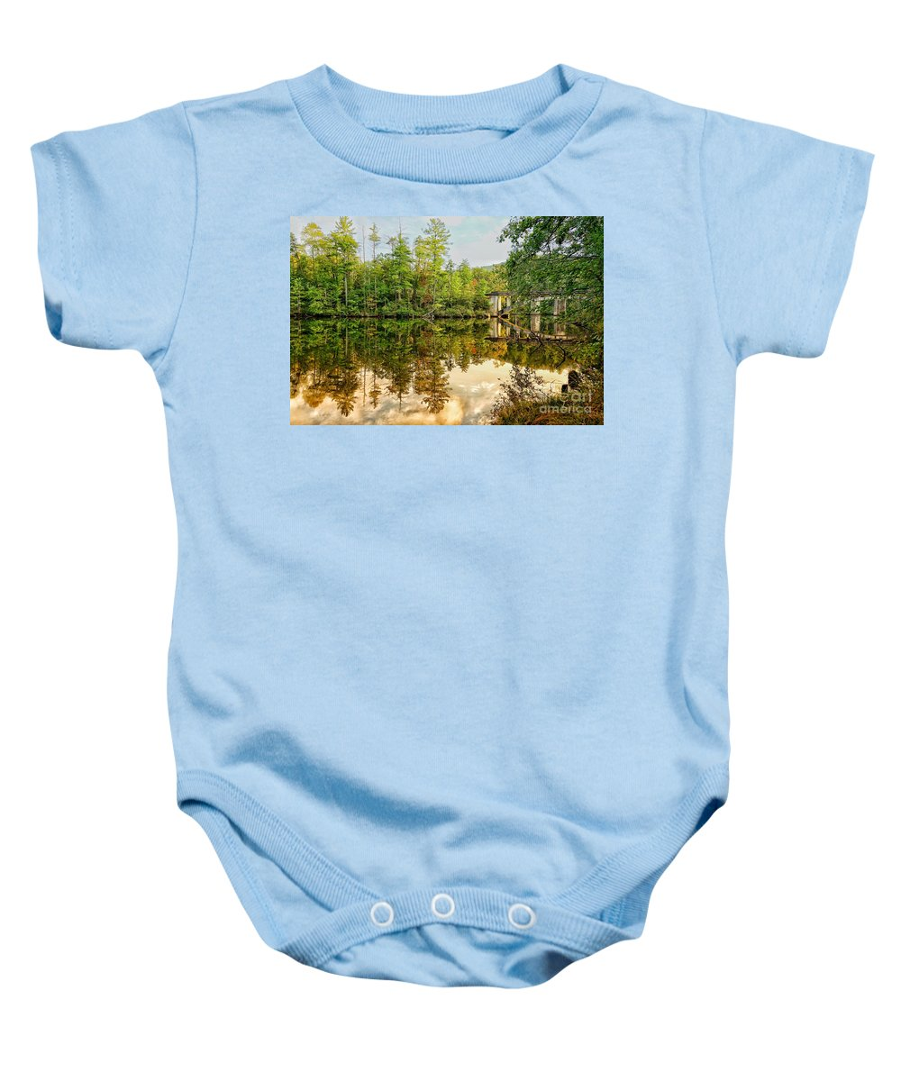 Landscape Baby Onesie featuring the photograph Reflections by Tara Ballard