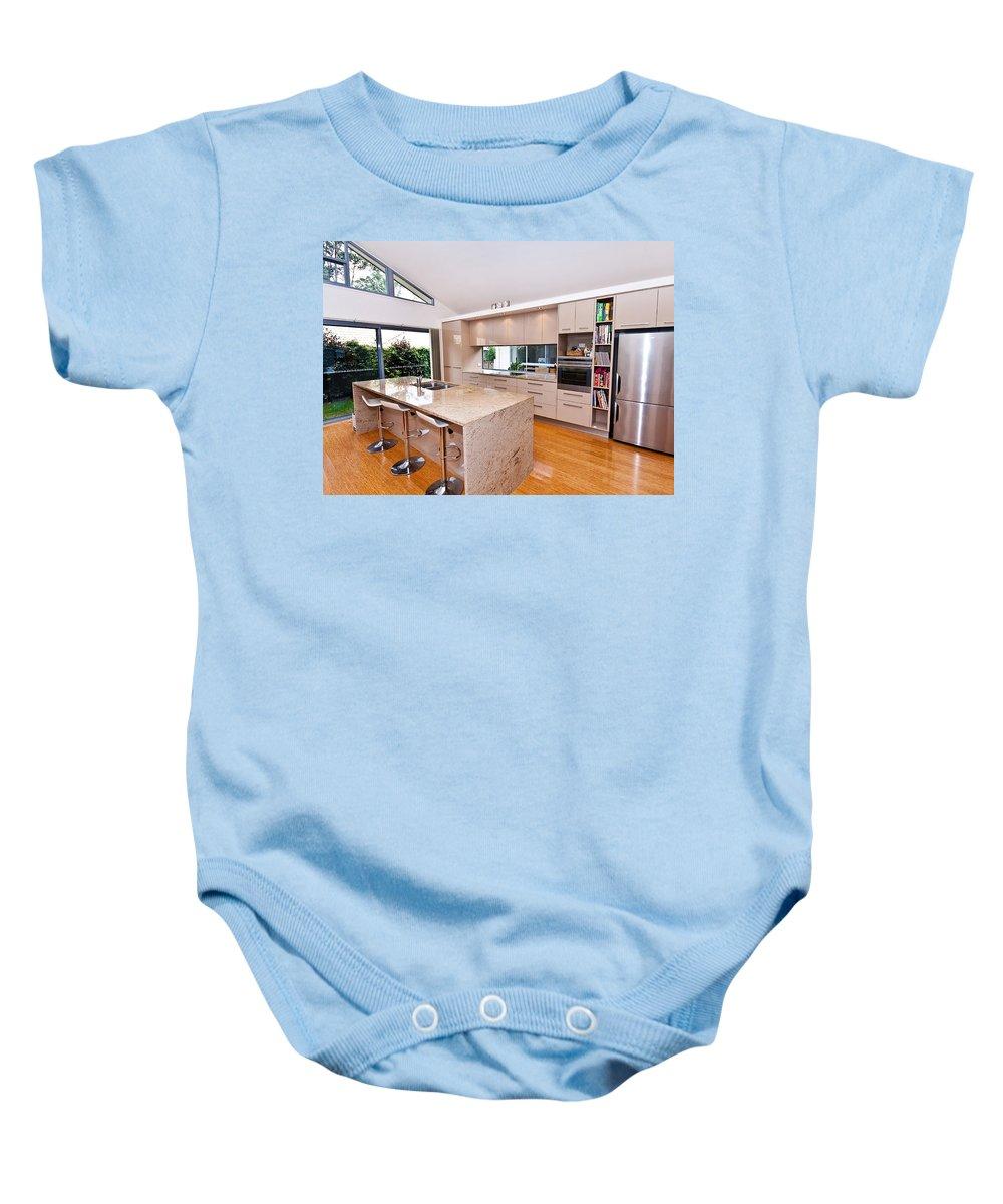 Stylish Baby Onesie featuring the photograph Stylish Modern Kitchen by Darren Burton