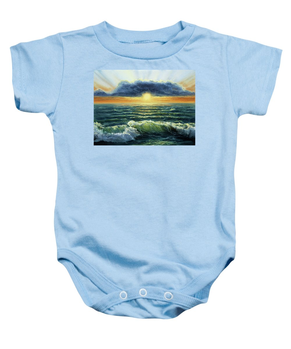 Water Baby Onesie featuring the painting Sunset Over Ocean by Boyan Dimitrov