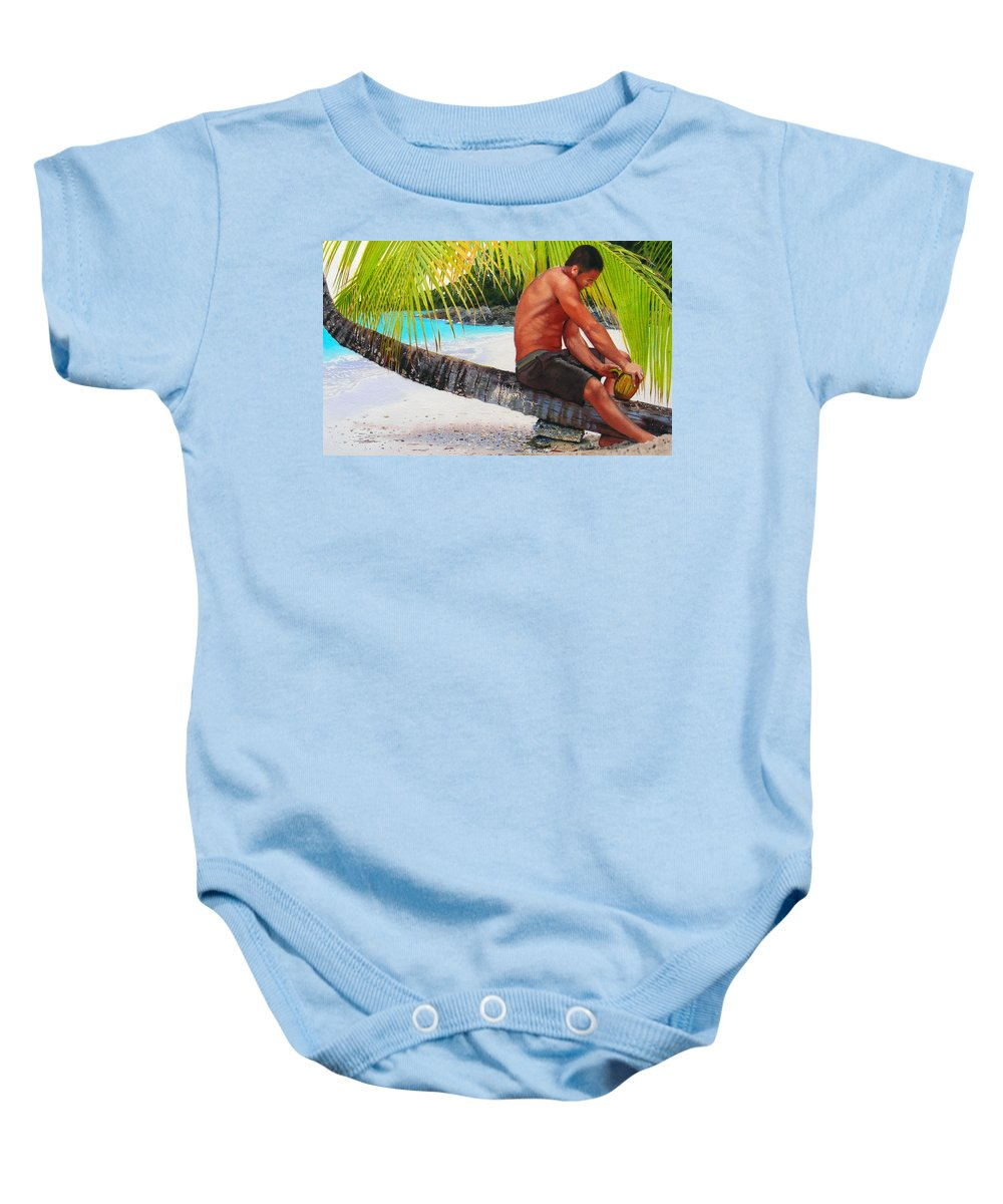 Male Figure Baby Onesie featuring the painting The Gatherer by Denny Bond