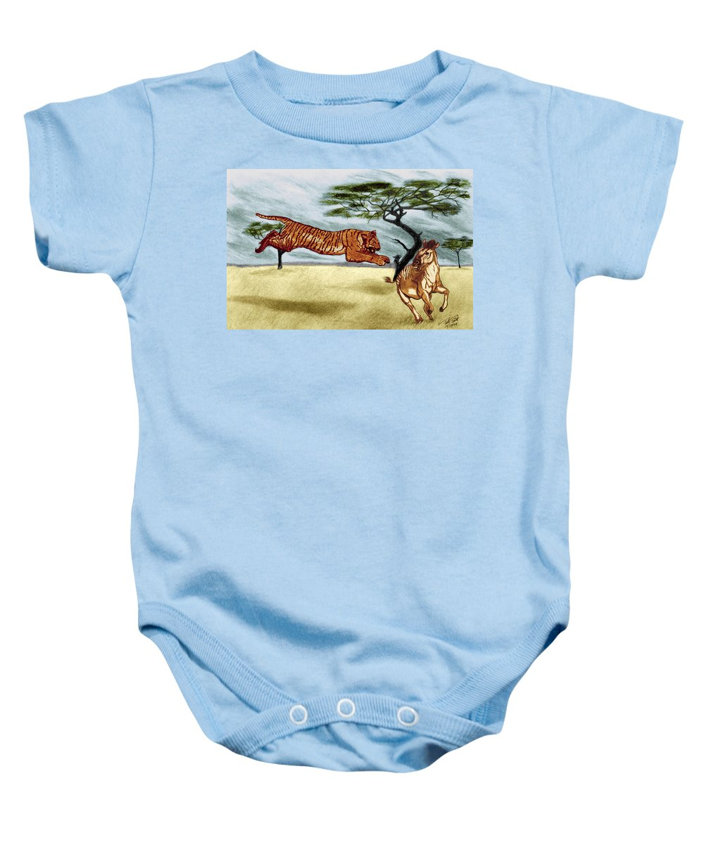 The Lunge Baby Onesie featuring the drawing The Lunge by Peter Piatt