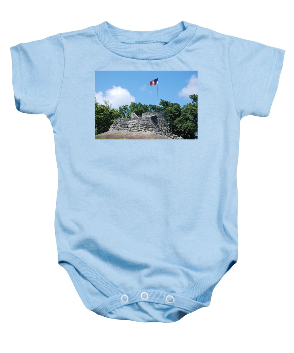 American Flag Baby Onesie featuring the photograph The Stand by Rob Hans