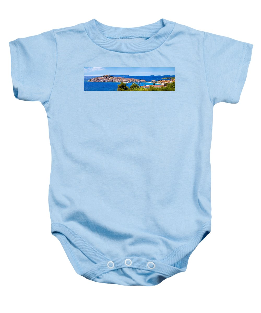 Primosten Baby Onesie featuring the photograph Town Of Primosten Panoramic View by Brch Photography