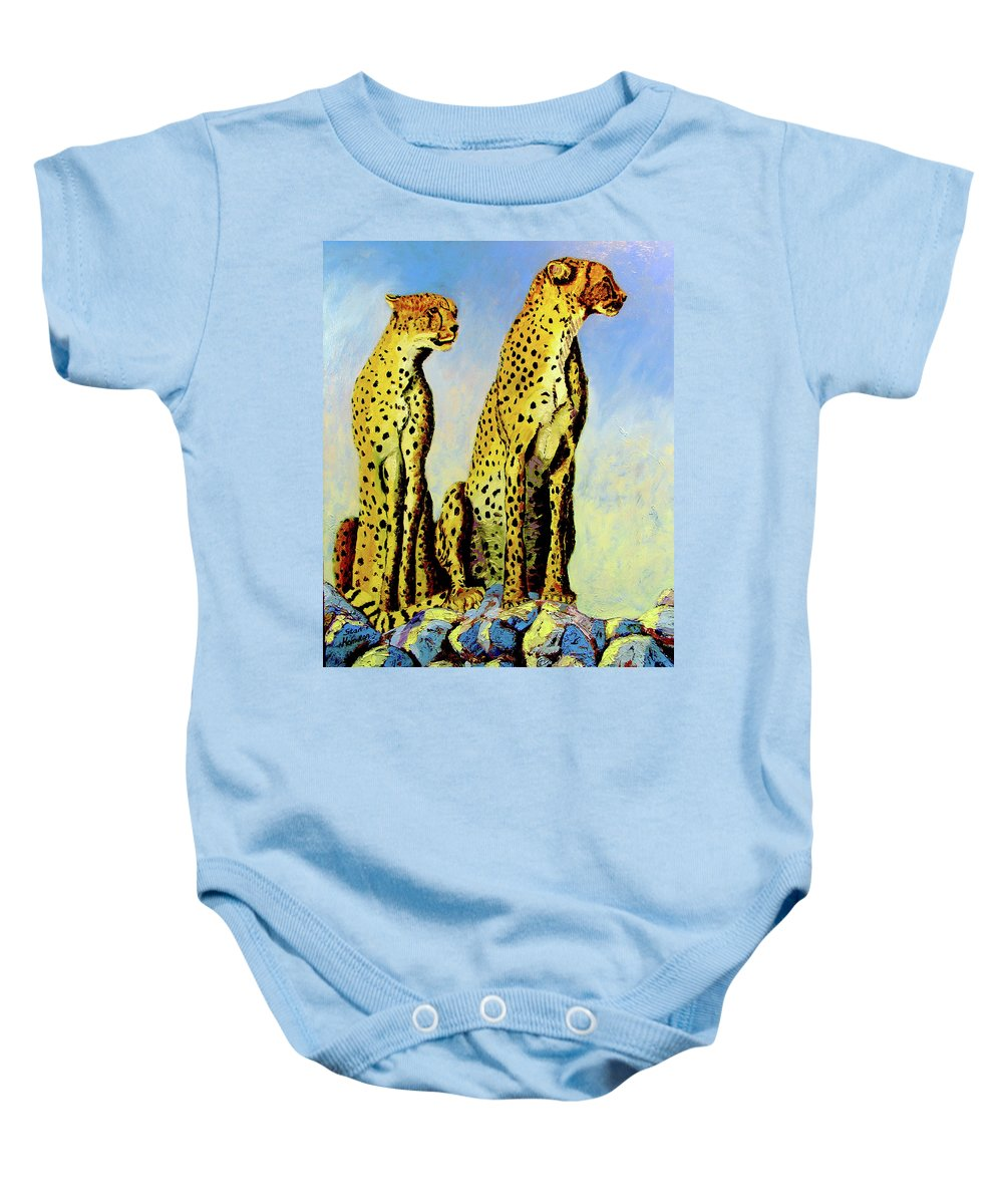 Cheetahs Baby Onesie featuring the painting Two Cheetahs by Stan Hamilton