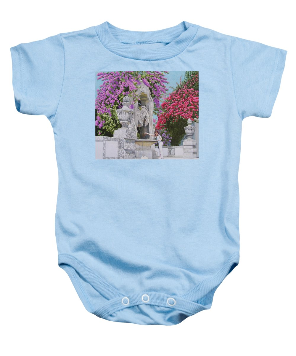 Landscape Baby Onesie featuring the mixed media Vacation In Portugal by Constance Drescher
