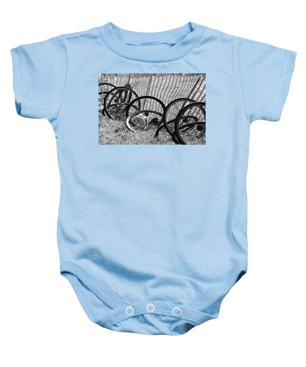 Wheel Baby Onesie featuring the photograph Waiting For A Ride by Lauri Novak