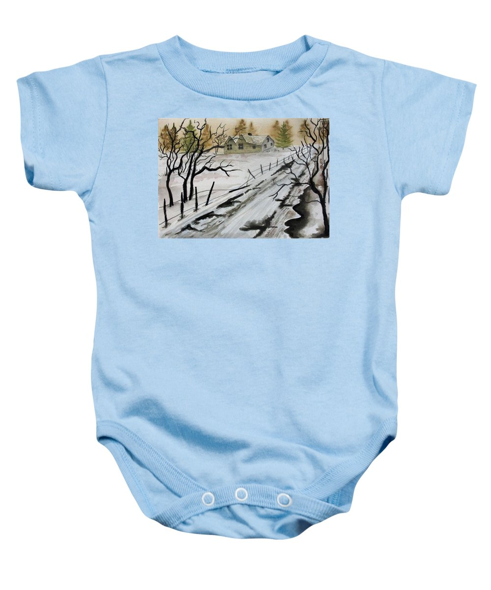 Building Baby Onesie featuring the painting Winter Farmhouse by Jimmy Smith