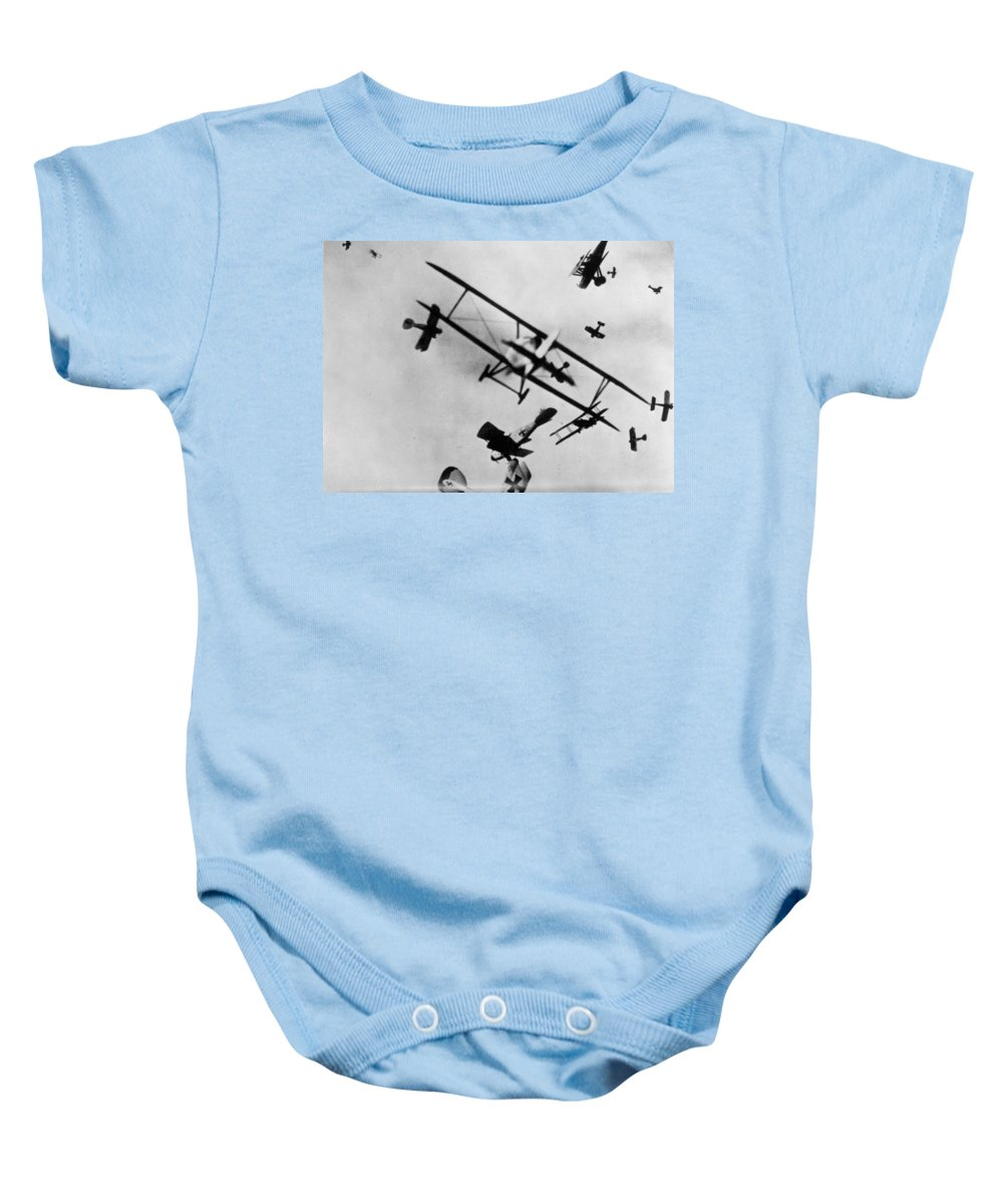 1910s Baby Onesie featuring the photograph Wwi: Dogfight by Granger
