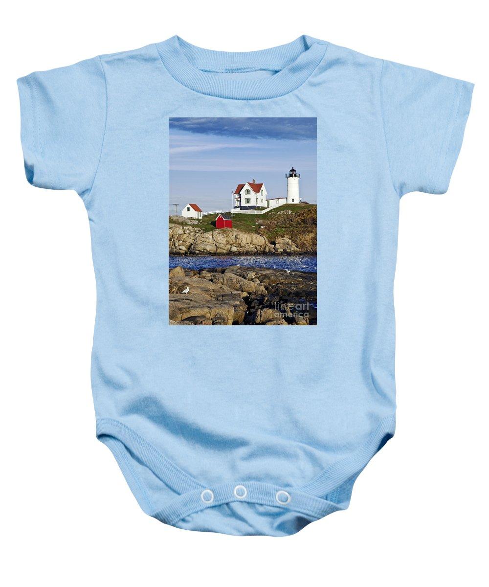 Cape Neddick Baby Onesie featuring the photograph Nubble Lighthouse by John Greim
