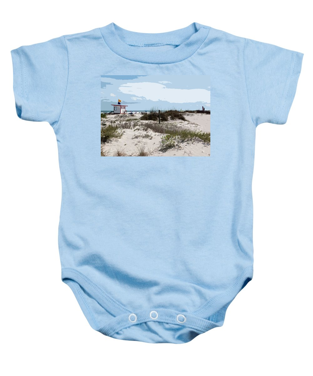 Florida Baby Onesie featuring the painting Jetty Park On Cape Canaveral In Florida by Allan Hughes