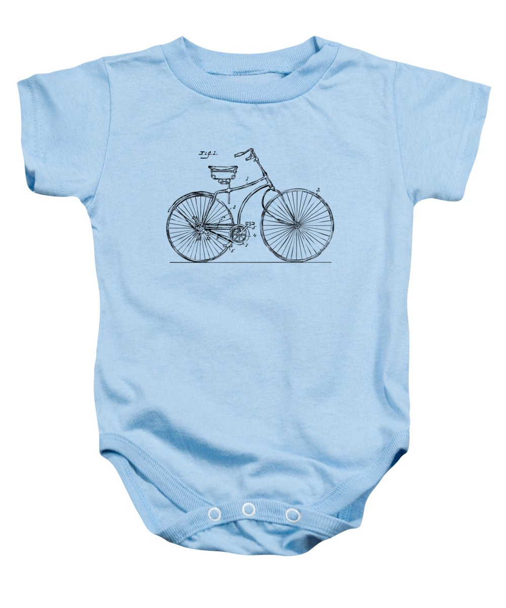 Bicycle Baby Onesie featuring the digital art 1890 Bicycle Patent Minimal - Vintage by Nikki Marie Smith