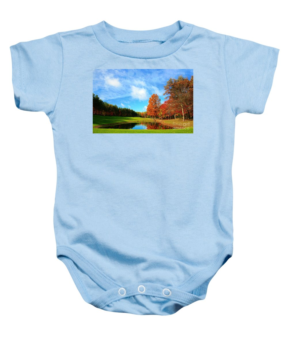 Golf Baby Onesie featuring the photograph 18th Hole Par3 by Robert Pearson