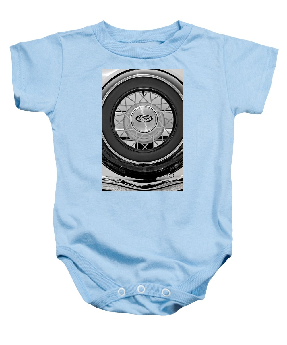1934 Ford Roadster Baby Onesie featuring the photograph 1934 Ford Roadster Spare Tire 2 by Jill Reger