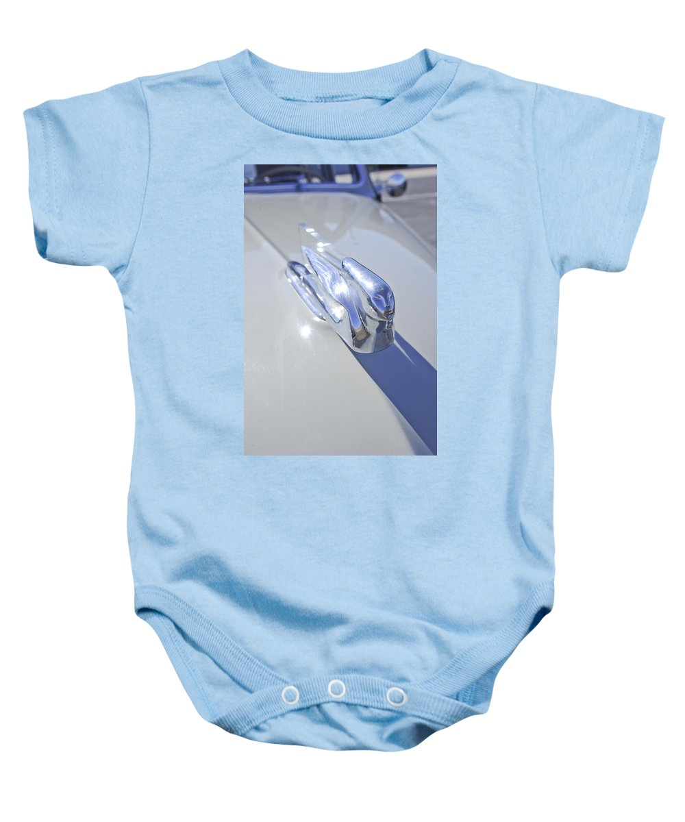 1940 Cadillac 60 Special Sedan Baby Onesie featuring the photograph 1940 Cadillac Hood Ornament by Jill Reger