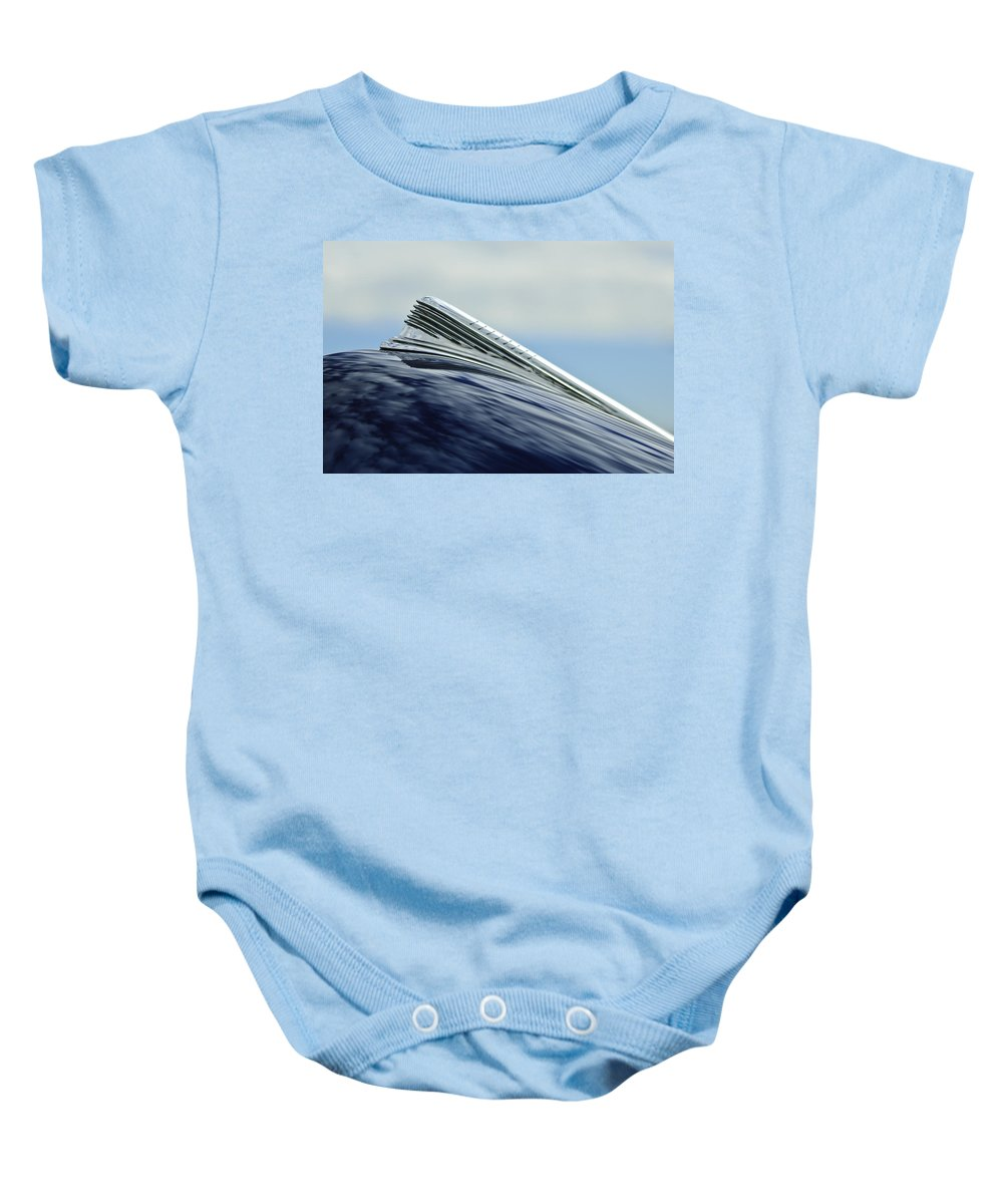 1941 Chevy Baby Onesie featuring the photograph 1941 Chevrolet Hood Ornament 2 by Jill Reger