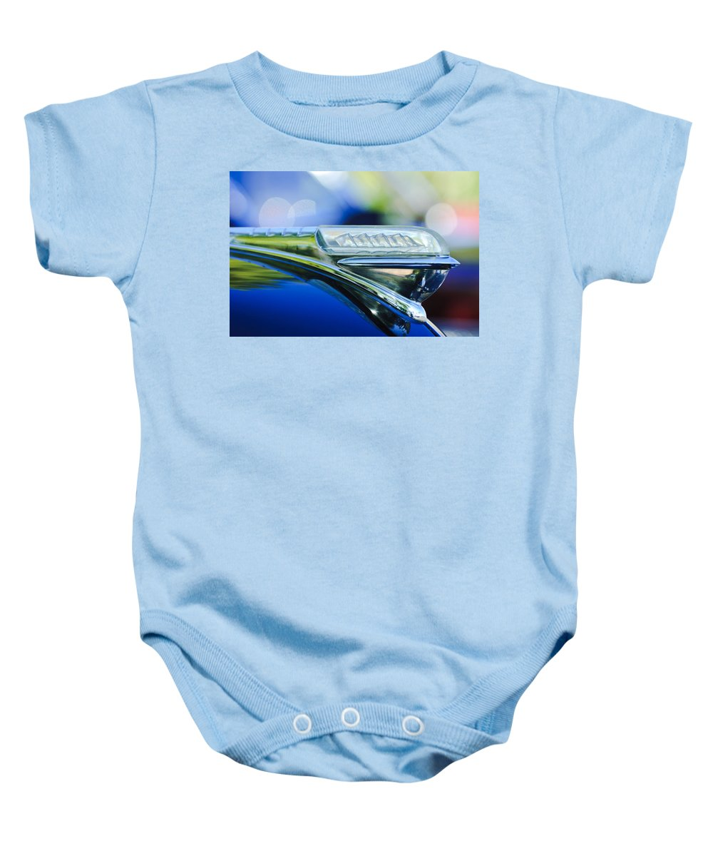1948 Plymouth Baby Onesie featuring the photograph 1948 Plymouth Hood Ornament by Jill Reger