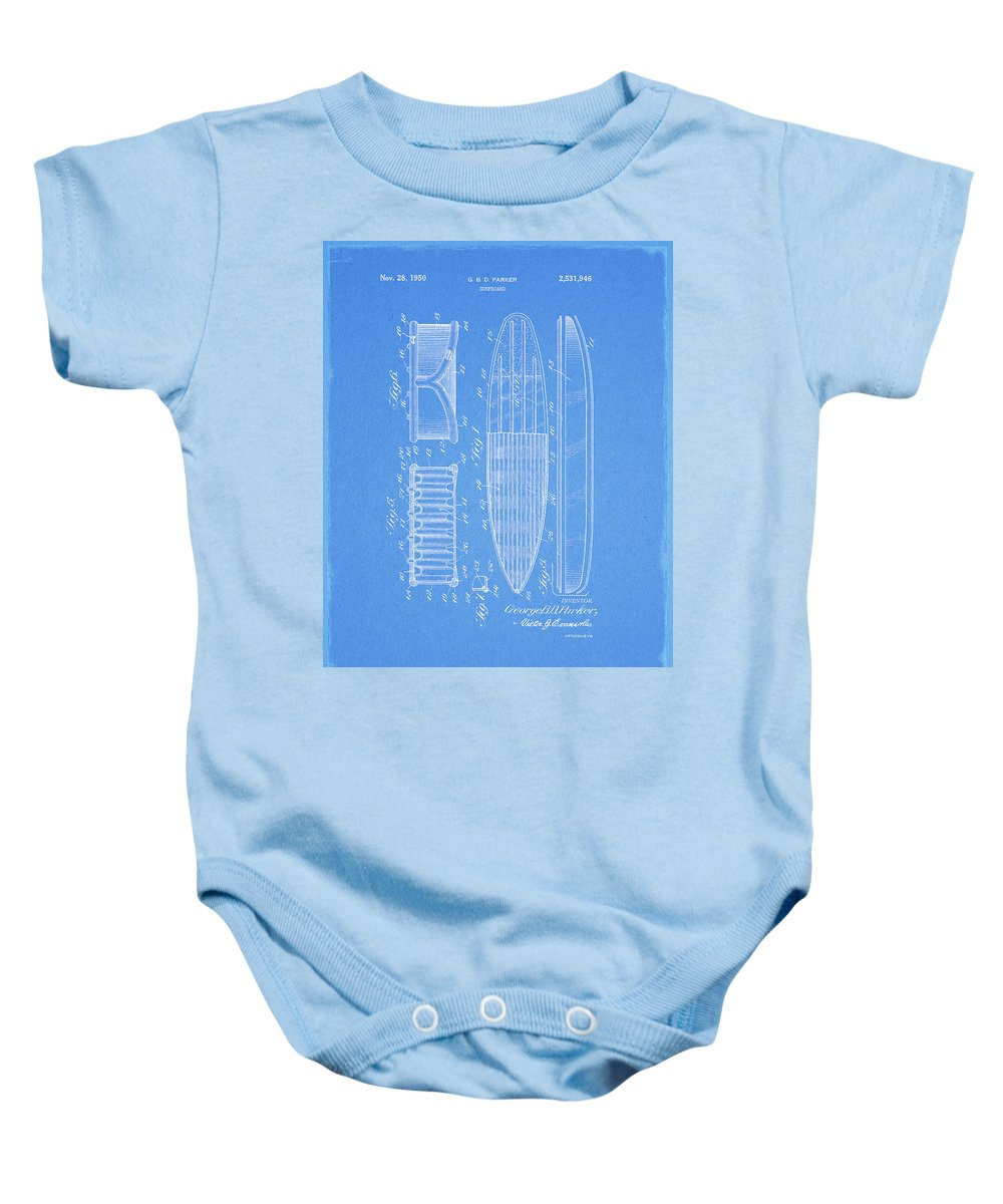 1950 Surfboard Patent Baby Onesie featuring the drawing 1950 Surfboard Patent by Dan Sproul