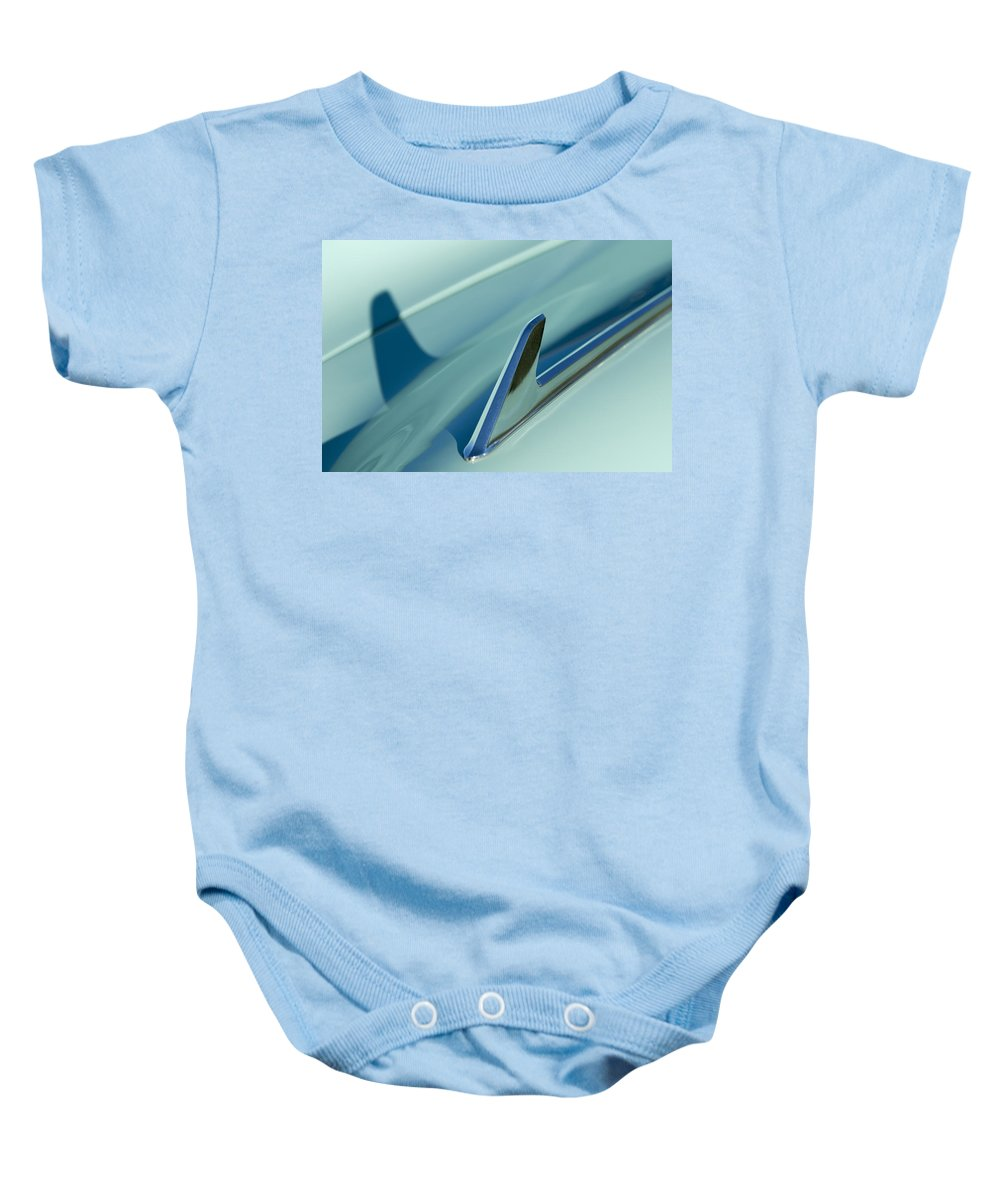 1954 Chevrolet Baby Onesie featuring the photograph 1954 Chevrolet Hood Ornament 2 by Jill Reger