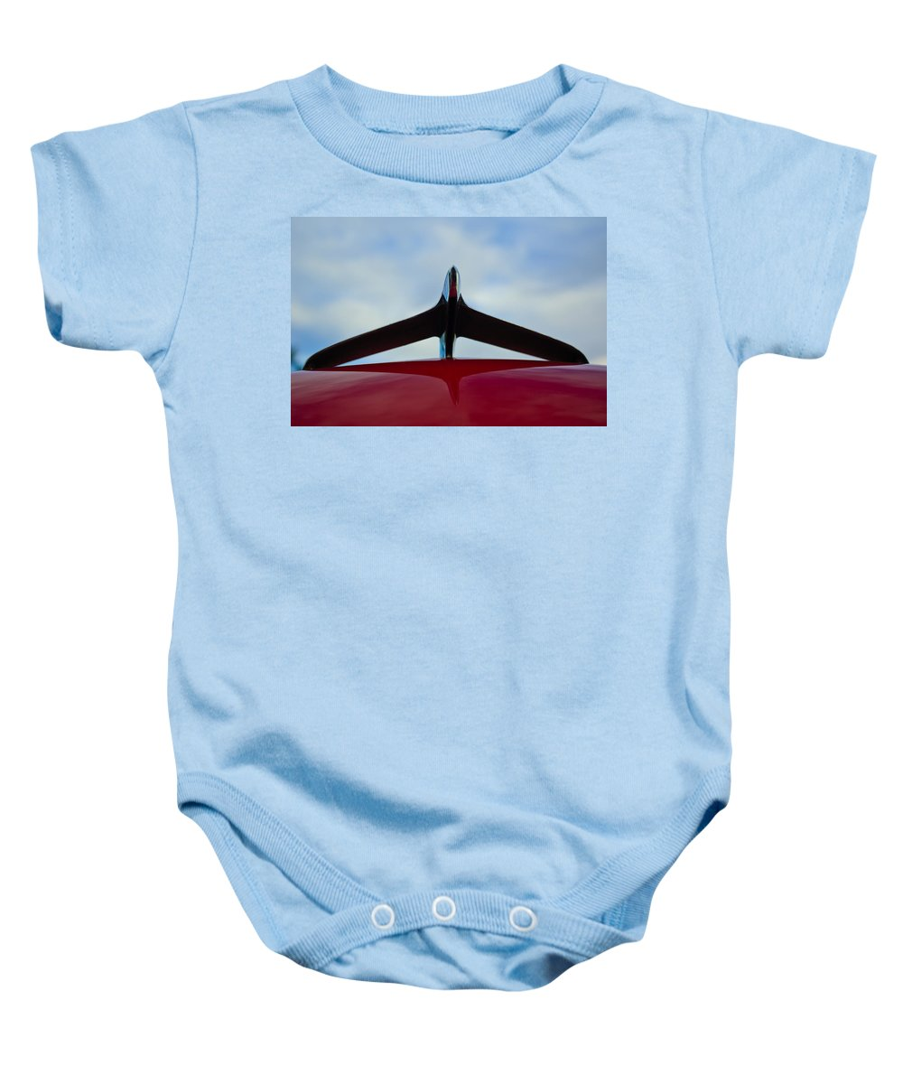 1956 Plymouth Baby Onesie featuring the photograph 1956 Plymouth Hood Ornament by Jill Reger