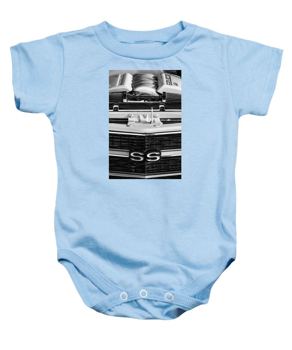 1970 Chevrolet Chevelle Ss Grille Emblem Baby Onesie featuring the photograph 1970 Chevrolet Chevelle Ss Grille Emblem - Engine -0171bw by Jill Reger