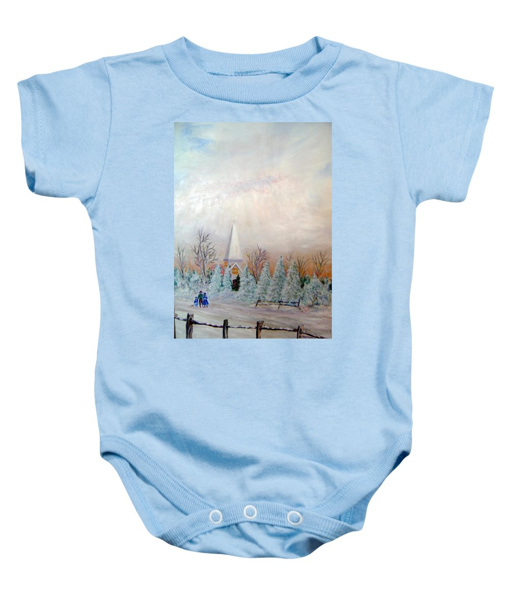 Church; People Walking In Snow; Christmas; Snow Baby Onesie featuring the painting Christmas Eve by Ben Kiger