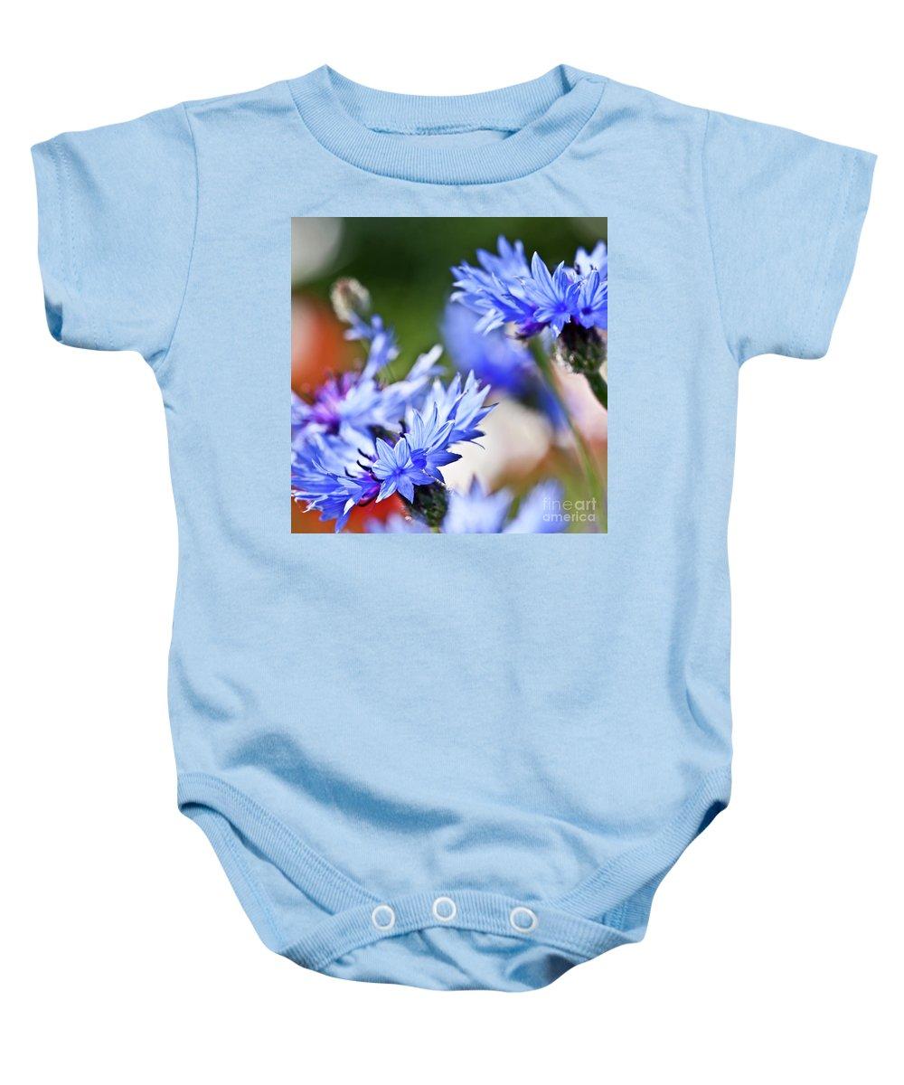 Cornflower Baby Onesie featuring the photograph Cornflower by Heiko Koehrer-Wagner