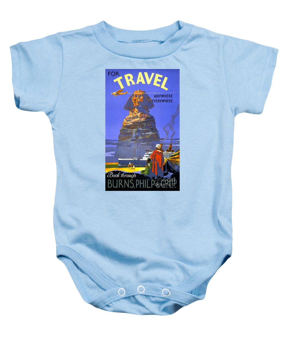 Retro Baby Onesie featuring the painting Egypt Vintage Travel Poster Restored by Carsten Reisinger