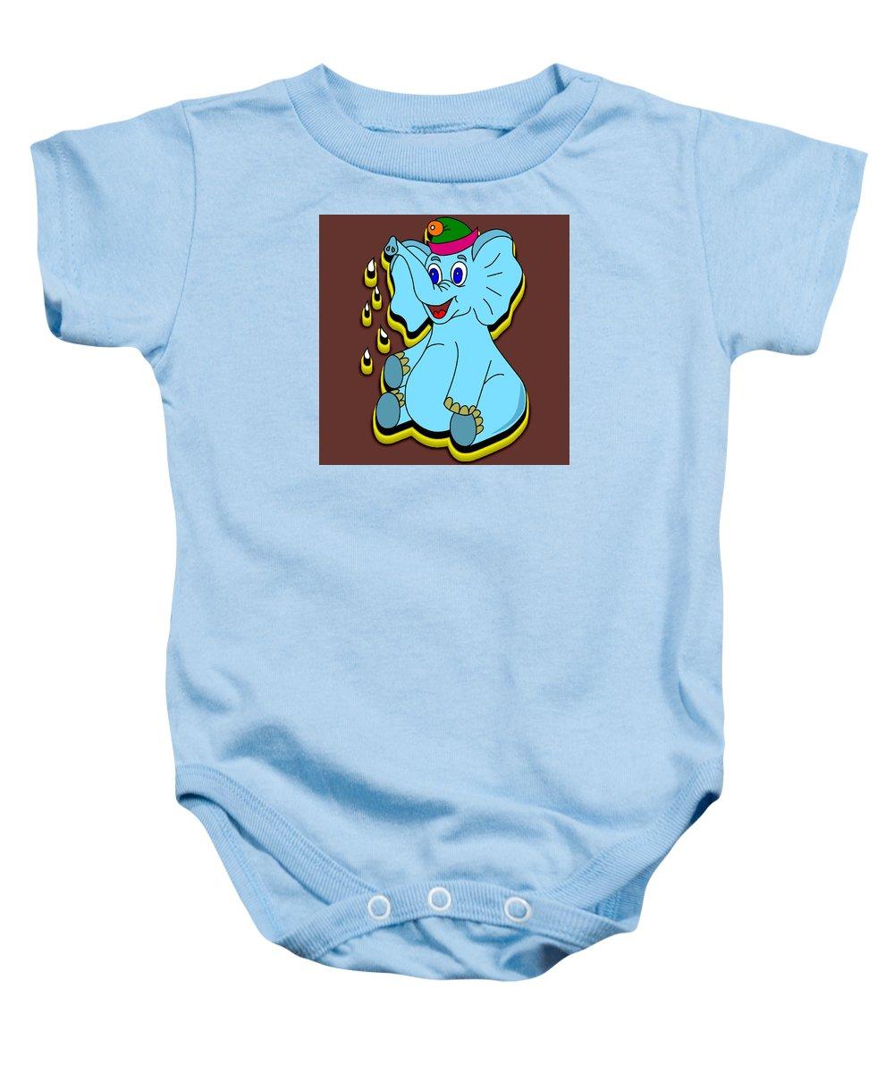 Background Baby Onesie featuring the digital art Happy Blue Elephant by Miroslav Nemecek