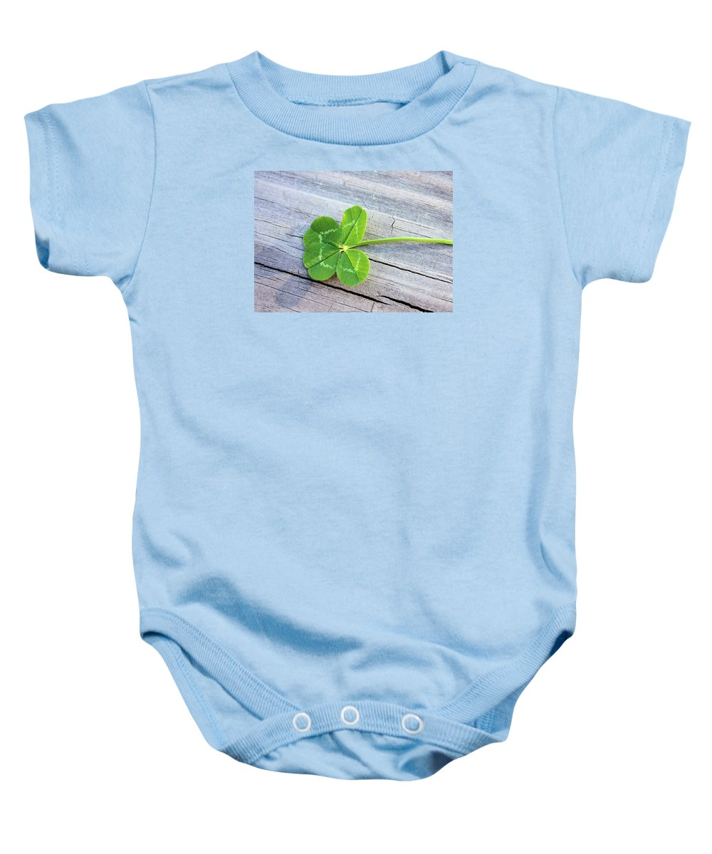 Clover Baby Onesie featuring the photograph Lucky by Kristin Elmquist