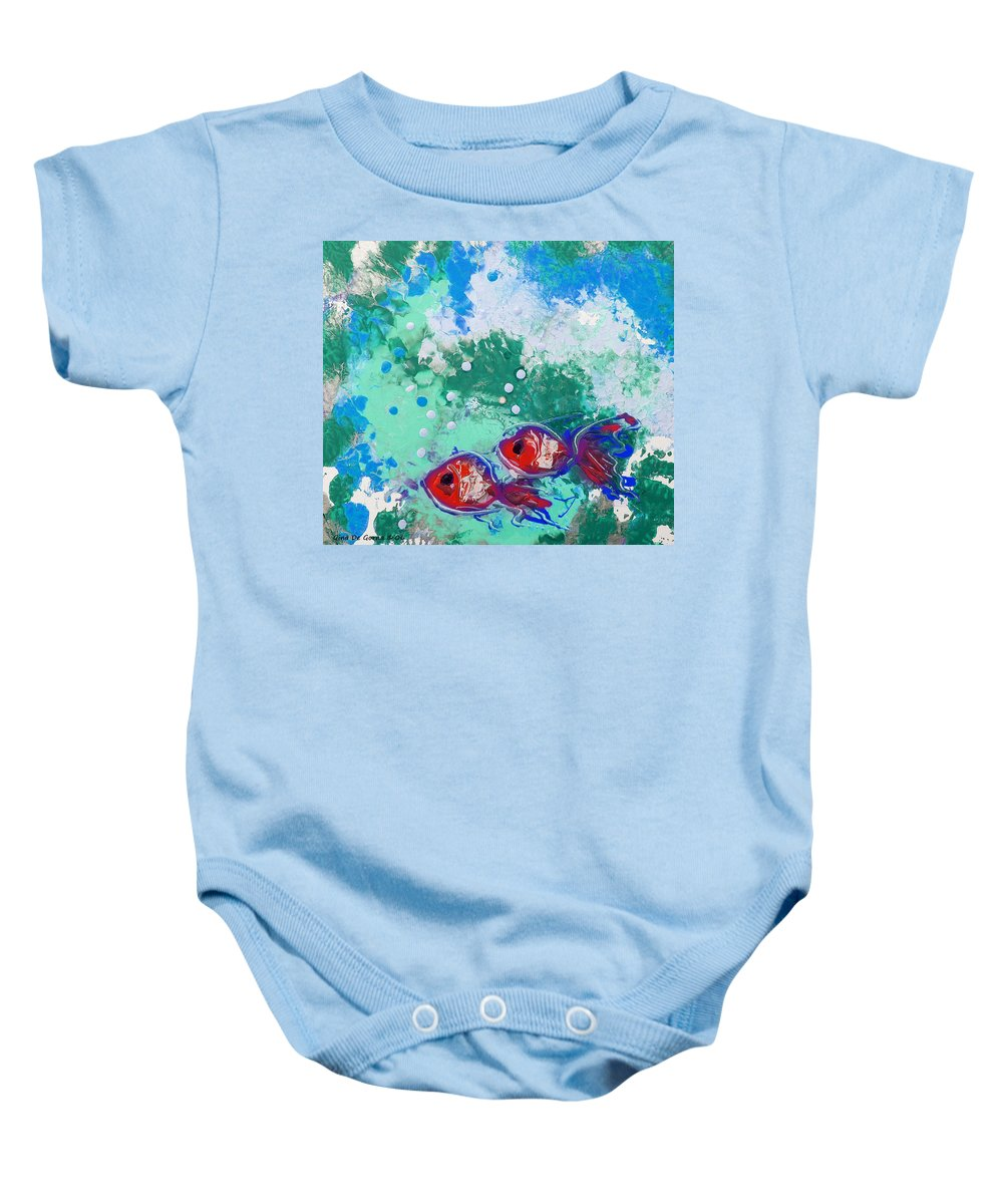 Fish Baby Onesie featuring the painting 2 Red Fish by Gina De Gorna