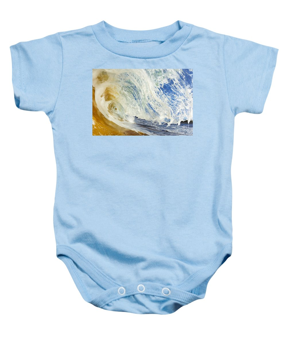 Amazing Baby Onesie featuring the photograph Sandy Wave Barrel by MakenaStockMedia - Printscapes