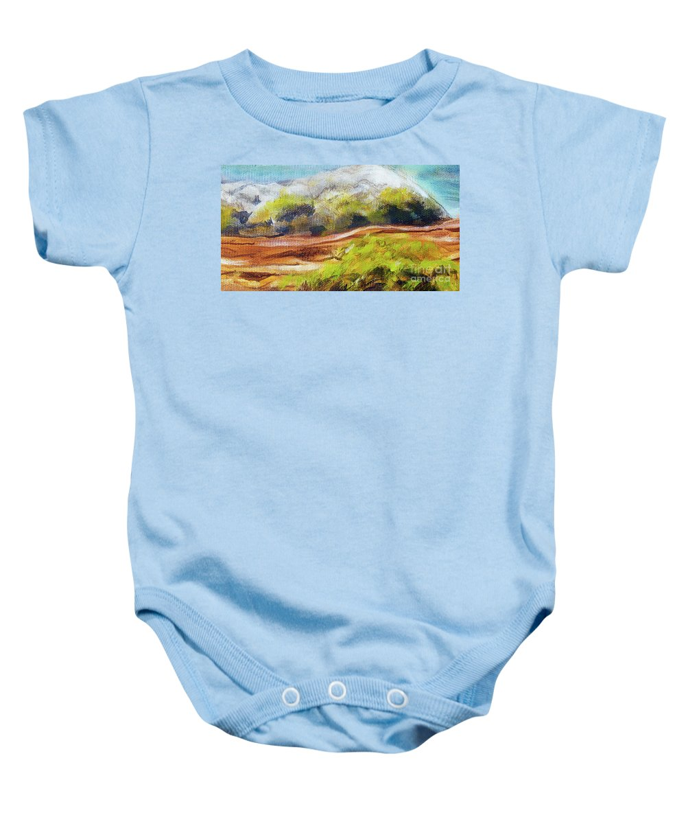 Oil Baby Onesie featuring the painting Structure Of Wooden Log Covered With Moss On The Riverside, Closeup Painting Detail. by Jozef Klopacka