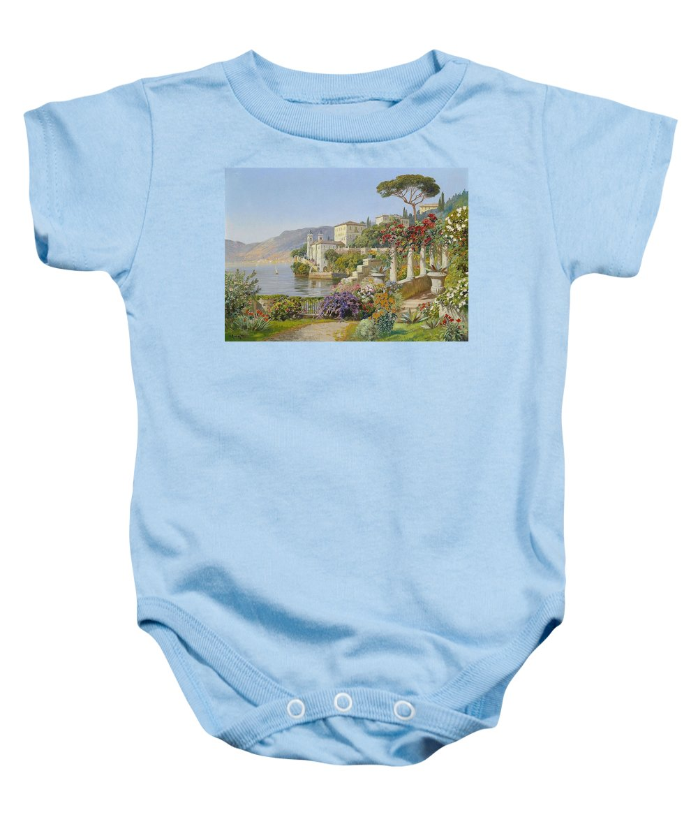 Alois Arnegger (1879-1963) View Of A Lake In The South Baby Onesie featuring the painting View Of A Lake In The South by Alois Arnegger