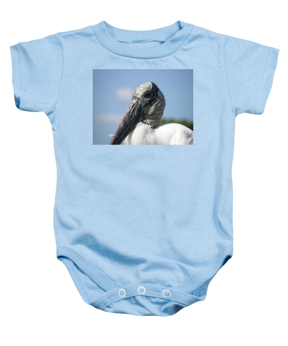 Bird Baby Onesie featuring the photograph Wood Stork by Kimberly Mohlenhoff