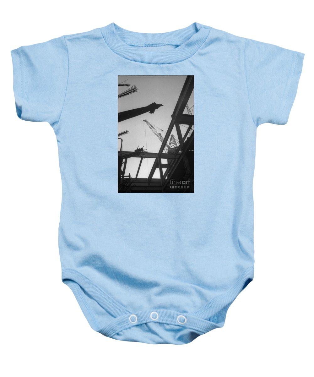 World Trade Center Construction Black And White 1967 Baby Onesie featuring the photograph World Trade Center Under Construction 1967 by Bob Bennett
