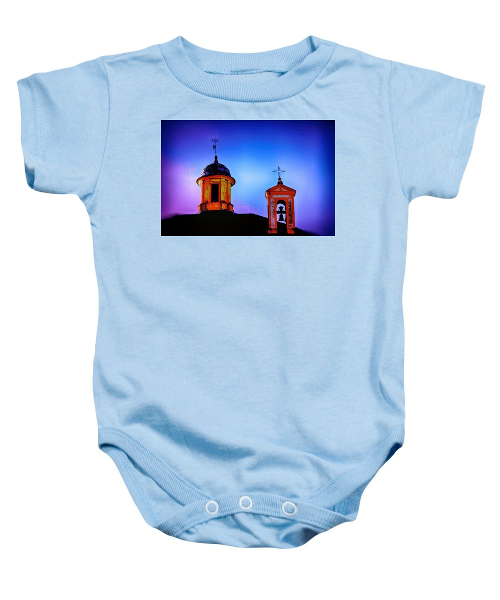Cross Baby Onesie featuring the digital art 2cross by Mark J Dunn