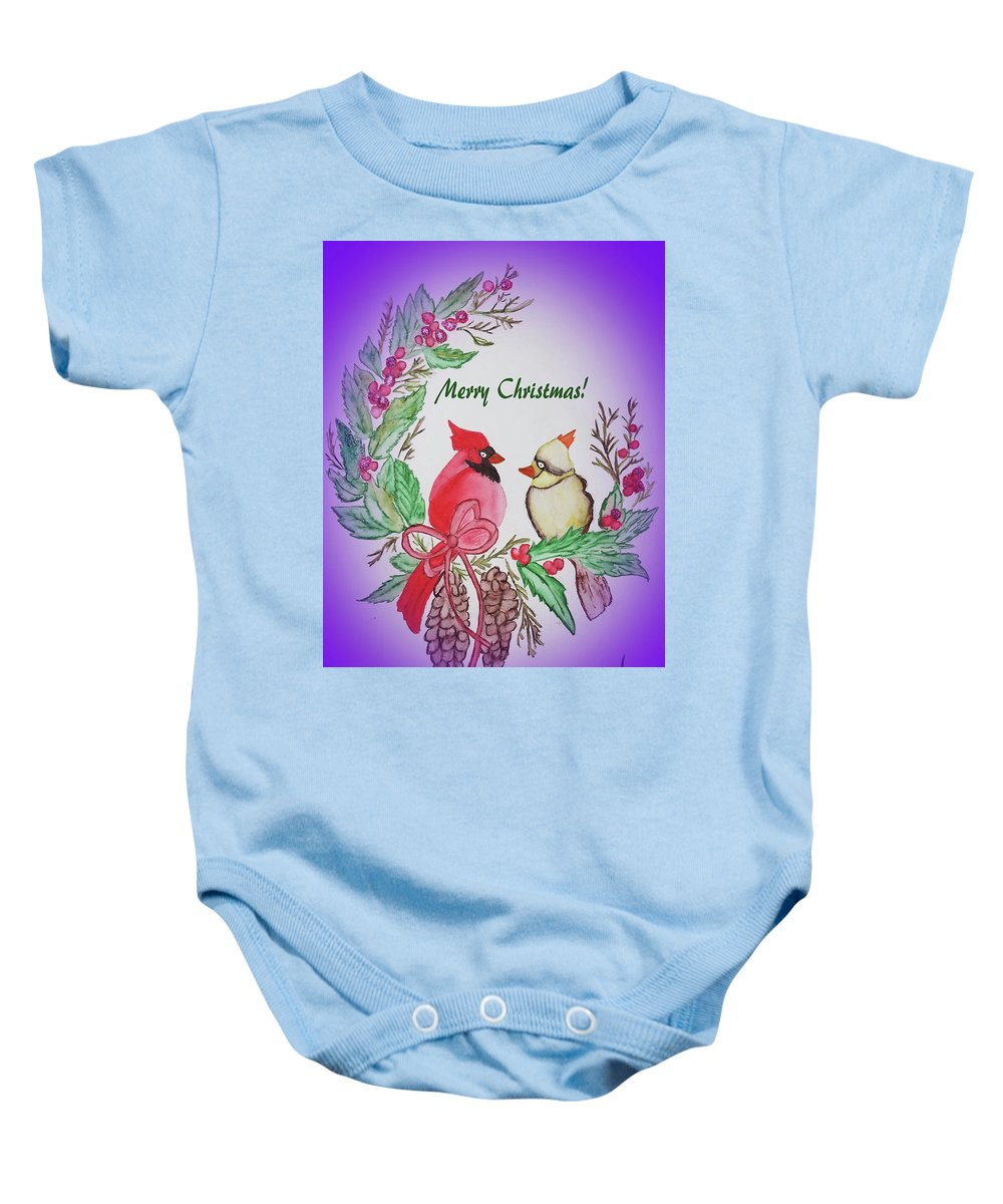 Baby Onesie featuring the painting Cardinals Painted By Debbie Woodrow by Debbie Woodrow