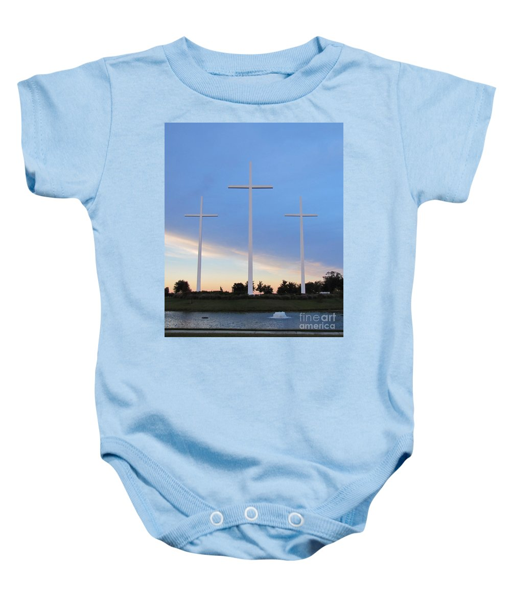 Crosses Baby Onesie featuring the photograph 3 Cross Sunset by Michelle Powell