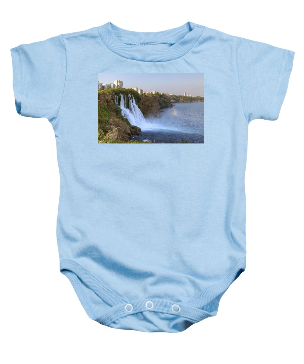 Duden Waterfall Baby Onesie featuring the photograph Duden Waterfall - Turkey by Joana Kruse