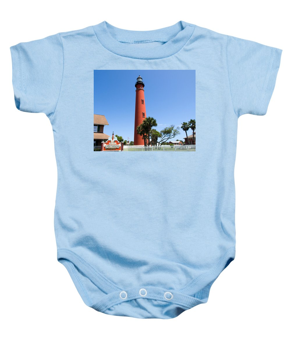 Ponce; De; Leon; Lighthouse; Light; House; Beacon; Navigation; Aid; Lens; Fresnel; Mosquito; Florida Baby Onesie featuring the photograph Ponce De Leon Inlet Lighthouse by Allan Hughes