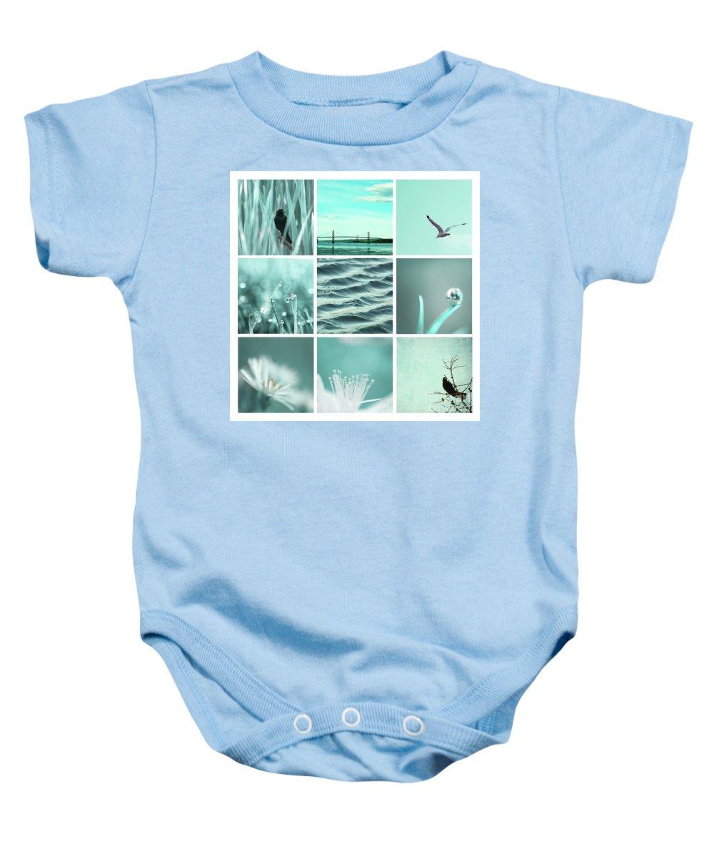 Aqua Baby Onesie featuring the photograph 3x3 Aqua Blue by Aimelle
