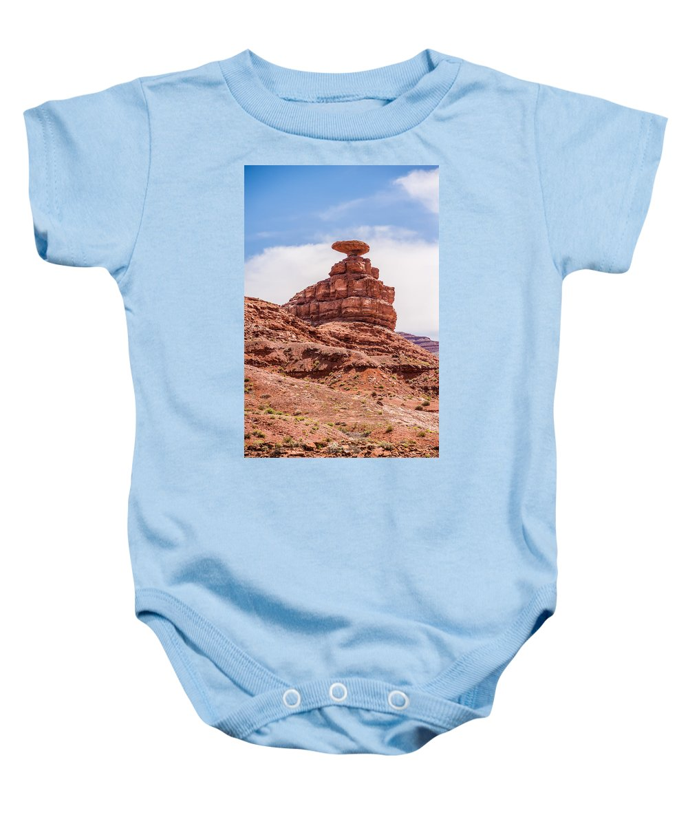 Mexican Baby Onesie featuring the photograph Mexican Hat Rock Monument Landscape On Sunny Day by Alex Grichenko