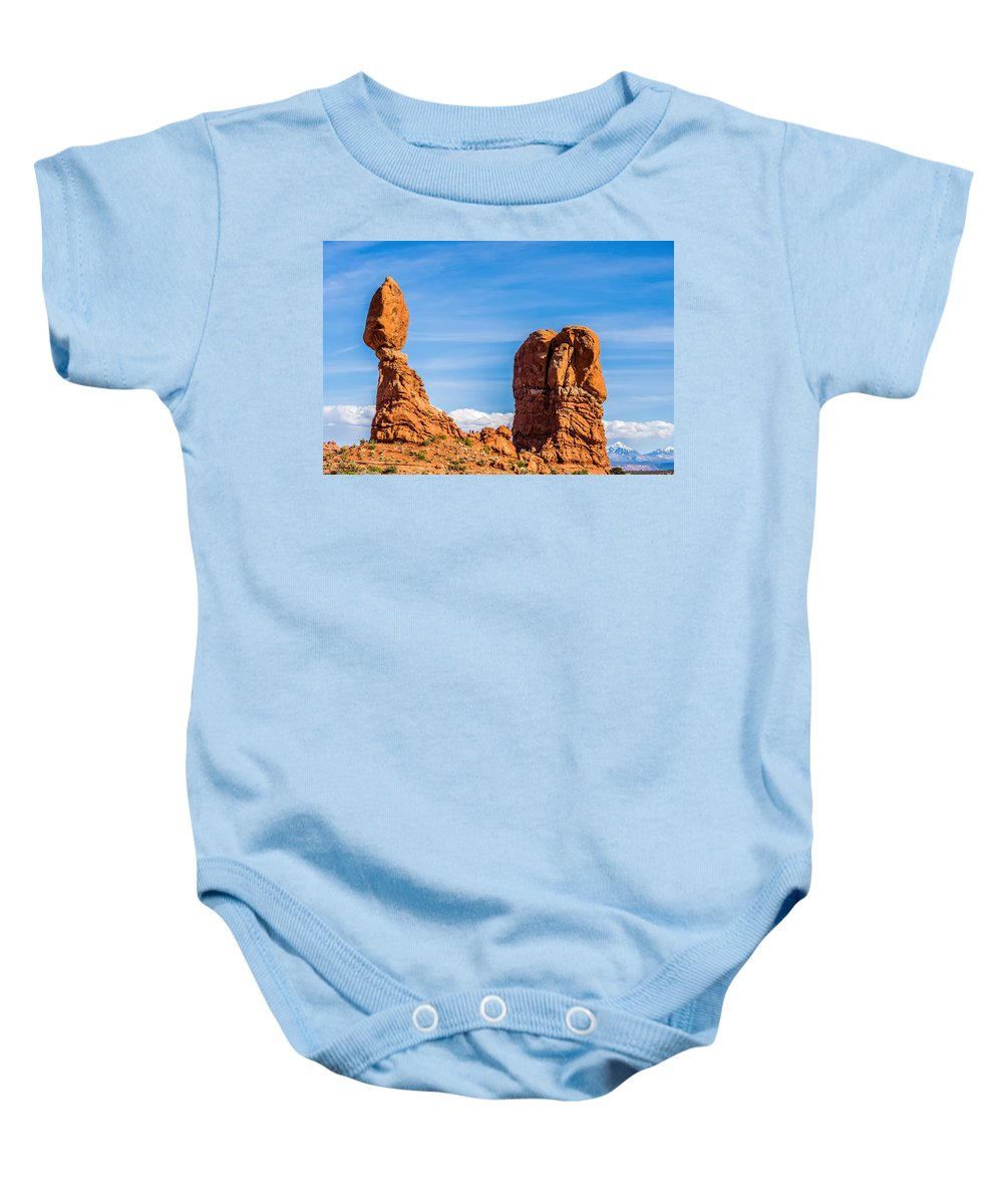 Park Baby Onesie featuring the photograph Arches National Park Moab Utah Usa by Alex Grichenko