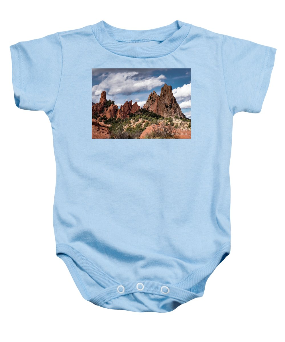 Colorado Springs Baby Onesie featuring the photograph Garden Of The Gods by Jennifer Mitchell