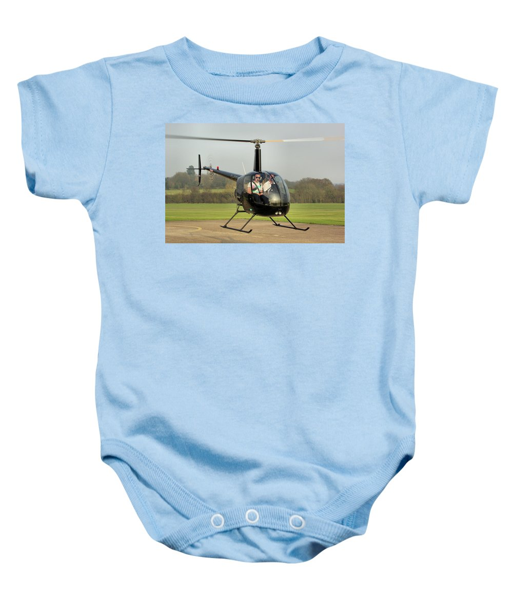 Student Baby Onesie featuring the photograph Robinson R22 Beta by Tim Beach